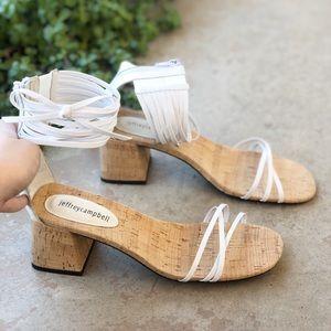 Jeffrey Campbell Everglade White Cork Heel Sandals